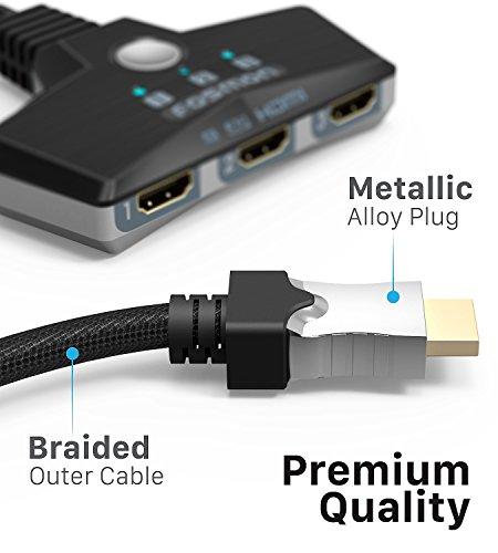 Fosmon 3-Porte Interruttore HDMI 4K 30Hz, 3x1 Switch HDMI Automatico Selettori Switcher Auto UHD HDR 3D Full HD 1080p… 5 spesavip