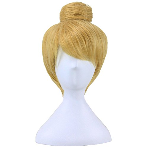 ColorGround Women's Short Blonde Cosplay Costume Wig with (Tinkerbell Costume Adult Diy)