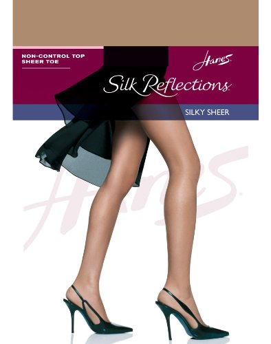 (Hanes Women's Non Control Top Sandalfoot Silk Reflections Panty Hose, Barely There, C/D )