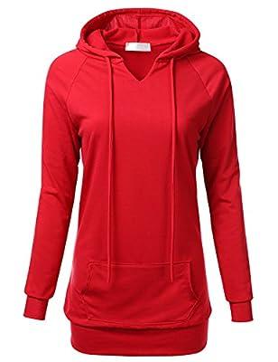 FLORIA Womens Raglan Long Sleeve French Terry Sweatshirt Hoodie Top w/ Pocket