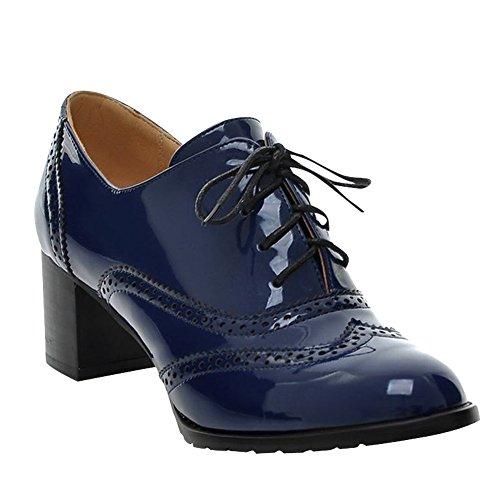 Carol Shoes Women Modern Mid Heel Hollow Patterns Ankle Boots Dark Blue