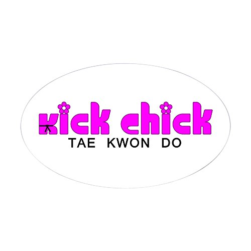 (CafePress Tae Kwon Do Kick Chick Oval Sticker Oval Bumper Sticker, Euro Oval Car Decal)