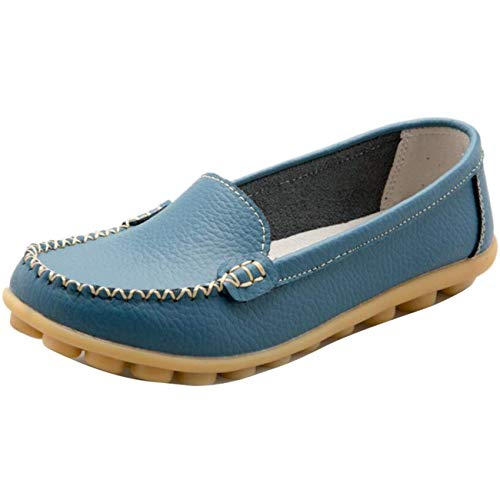 Mocassini Piatti Fuxitoggo 7 Donna Uk on Dimensione Da Slip Tondi colore Blu fdWqWp