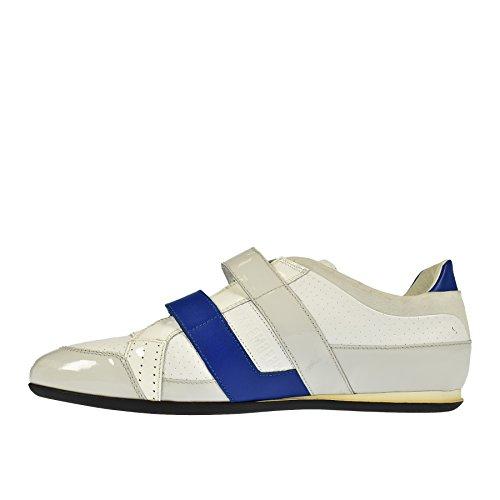 Bikkembergs Sneaker Bianca E Grigia con Profilo in Vernice - 42