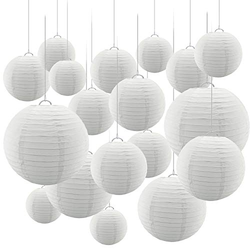 24 Pc Paper Round Lantern for Birthday Bridal Wedding Baby Shower Parties - Great for Indoor or Outdoor (White)