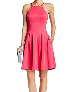 Calvin Klein Womens Pleated Halter Casual Dress