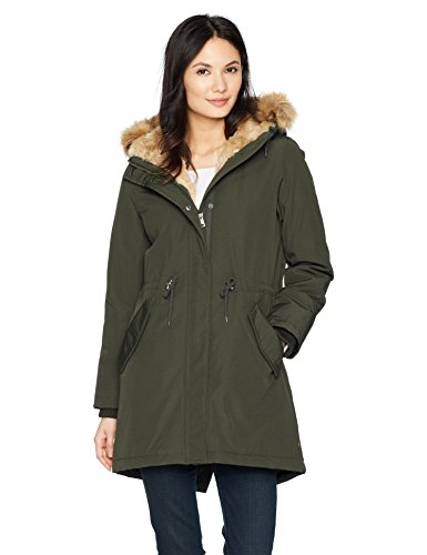 Levi's Women's Faux Fur Lined Hooded Parka Jacket, Olive Extra -