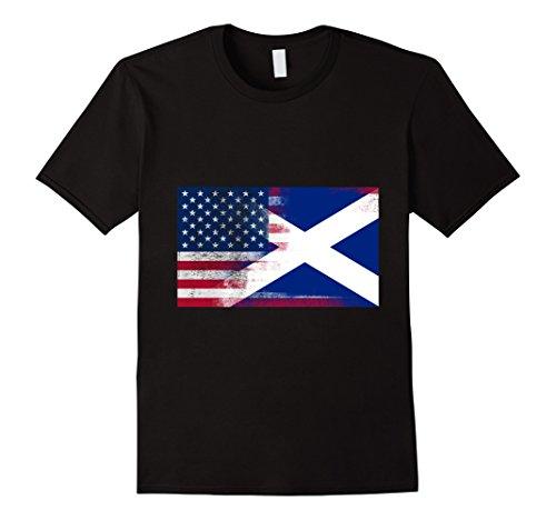 Men's Scottish American Half Scotland Half America Flag Shirt XL Black