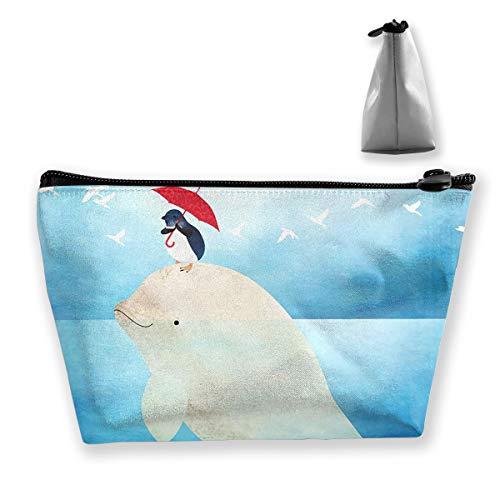 Wansanc Storage Bag Beluga and Little Penguin Cosmetic Bags Sewing Kit Emergency Preparedness Kit Outdoor Travel First Aid Kit Pack Organizer Bag Travel Makeup Train Case Storage Bag