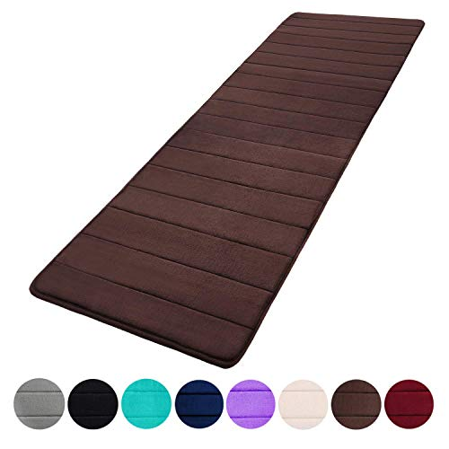 Memory Foam Soft Bath Mats – Non Slip Absorbent Bathroom Rugs Extra Large Size Runner Long Mat for Kitchen Bathroom Floors 24″x70″, Coffee