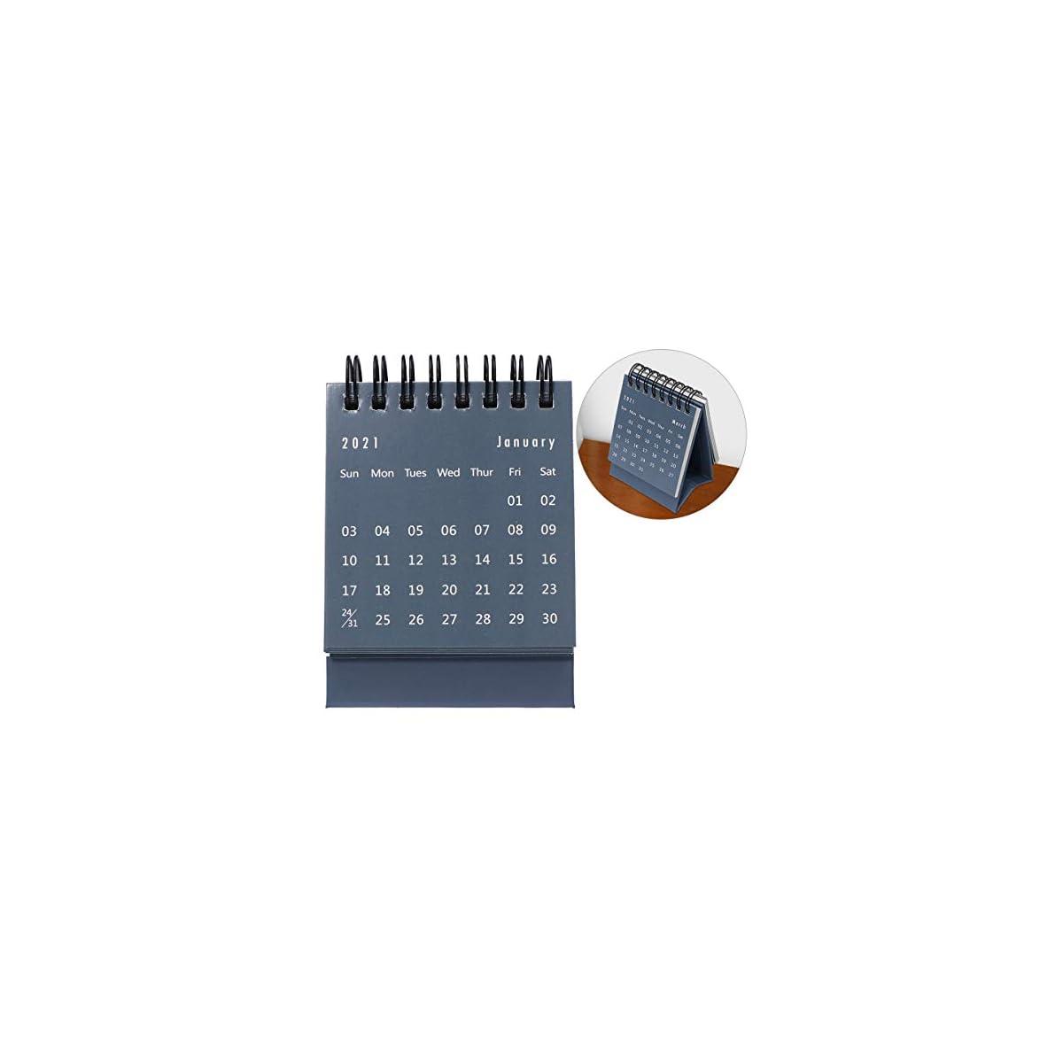 NUOBESTY Mini 2021 Calendario Scrivania Mensile Flip Desktop Calendario Planner 2021 Capodanno Forniture Regalo Blu