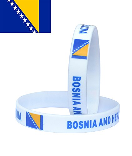 VEWCK Flag Silicone Bracelet Classic Bangle Letter pattern 40 countries 2-Pack (Bosnia And Herzegovina)