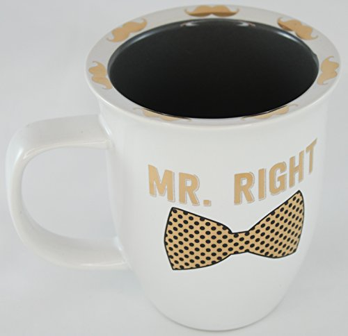 Mustaches Coffee Mugs (Our Little Bijou Mr. Right Bowtie with Gold Mustaches Porcelain Mug Groom Coffee Tea - Bronze/Black/Cream)