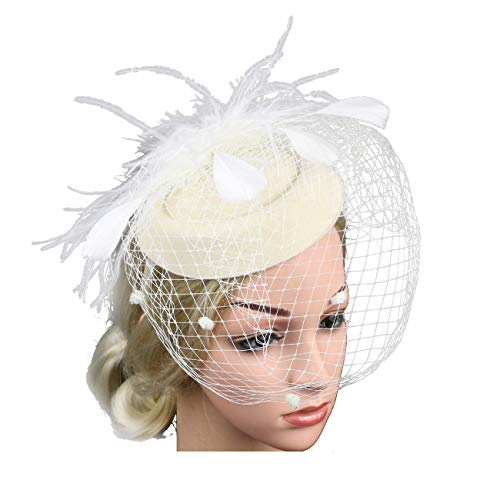 (Women Fascinators Hats 20s 50s Vintage Pillbox with Veil for Girls Derby Fancy Headwear Cocktail Tea Party Costume)