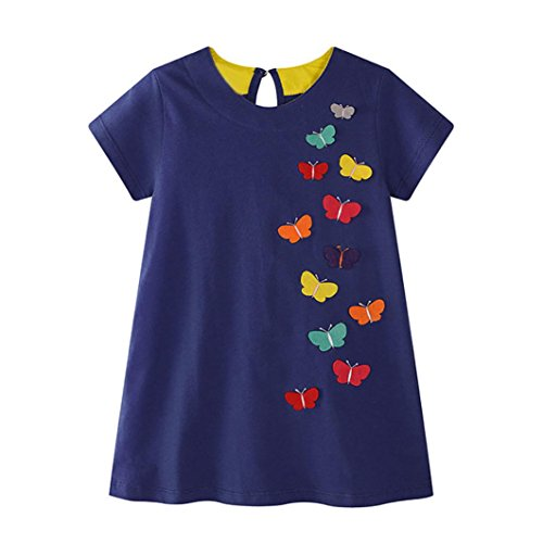Lurryly Toddler Baby Kid Girl Butterfly Appliques Dress Sundress Outfit Clothes from Lurryly