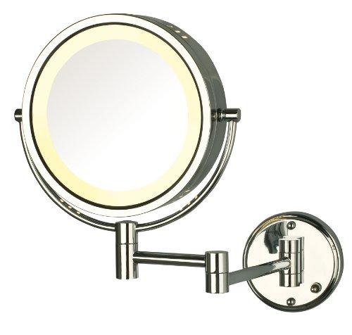 Jerdon HL75CLD Espejo para maquillaje con luz de 21.5 cm (8.5 pulgadas) para montar en la pared, aumento de 8x, acabado...