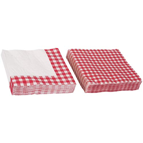 Picnic Themed Gingham Napkins Tableware - Perfect for Family Dinner, Birthday parties and Picnic Party Supplies (80 Pack)]()