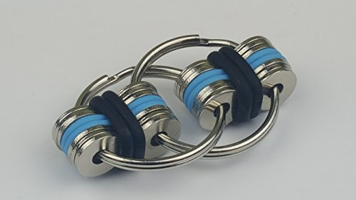 Flippy Stainless Steel Bike Chain Fidget Toys Relieve Your Stress, Anxiety, & Boredom all at your Finger Tips! Also Helps ADD, ADHD, & Autism (Black&Blue)