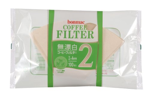 [2-4] bonmac cups unbleached bamboo blended filter CF-200BAM 100 sheets x 10 pack # 858512 (japan - Blended Sweet Coffee