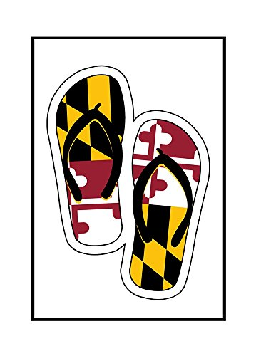 Maryland - Flip Flops Shaped Flag (16x24 Framed Gallery Wrapped Stretched Canvas) by Lantern Press