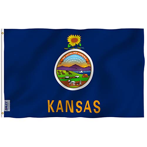 Anley Fly Breeze 3x5 Foot Kansas State Flag - Vivid Color and UV Fade Resistant - Canvas Header and Double Stitched - Kansas KS Flags Polyester with Brass Grommets 3 X 5 Ft