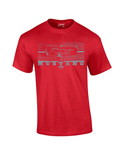 Ford T-Shirt Mustang Grill Legend Honeycomb Grill and Emblem-red-large (Mustang Red T-shirt)