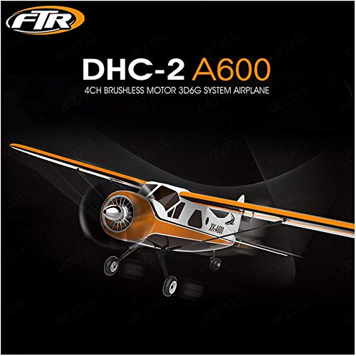 LONGZUVS  RC Airplane 6 Axis Glider, XK DHC-2 A600 4CH 2.4G Aircraft High Efficient Brushless Motor, 3D6G Easy to Control Suit for Beginner (Yellow)