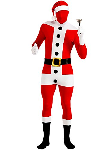 Rubie's 2nd Skin Santa Full Body Stretch Bodysuit, Red/White, Large Costume