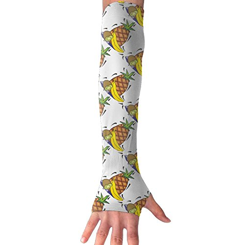 HBSUN FL Unisex Cartoon Pineapple Banana Kiwi Anti-UV Cuff Sunscreen Glove Outdoor Sport Riding Bicycles Half Refers Arm Sleeves by HBSUN FL
