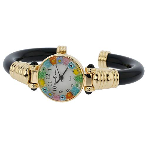 Murano Glass Millefiori Bangle Watch - Black ()