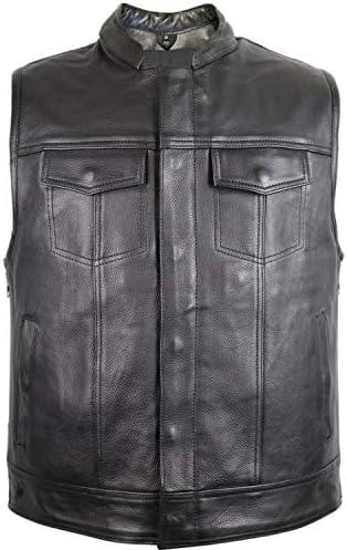MDM Gilet en cuir aspect jean avec fermeture /éclair lat/érale.