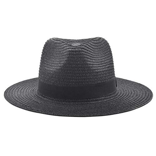 Pollyhb Unisex Beach Straw Hat Jazz Sunshade Panama Trilby Fedora Hat Gangster Cap