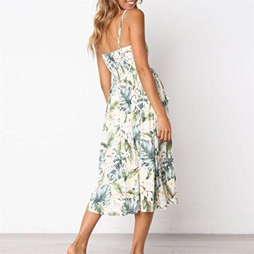 Sommerkleider Damen Kurzarm Taste Nieder Swing Strand Blumen Midi Abendkleider mit Taschen F h8xx72lu