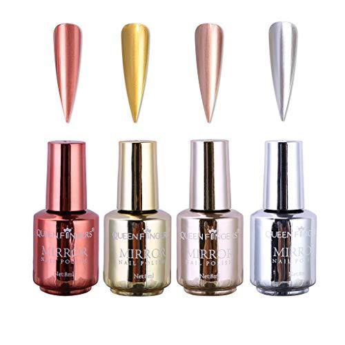 4 Pcs Plating Metallic Nail Polish Set, Salon Nails Pigment Half Mirror Chrome Nail Polish Lacquer, Nails Art Glitter Chrome Metallic Effect Manicure, Gold, Silver, Champagne,Rose Gold
