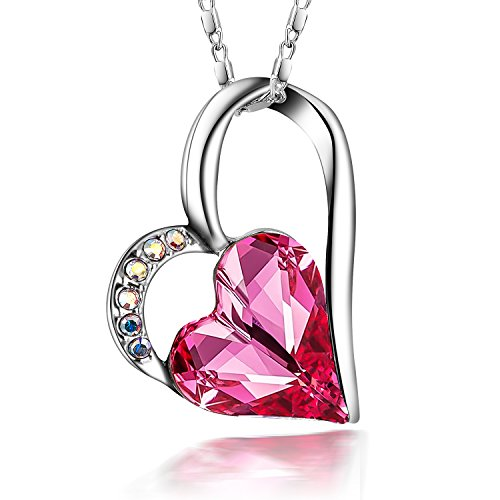 (SIVERY Eternal Love' Women Heart Necklace with Pink Swarovski Crystal, Jewelry for Women)