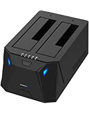 Sabrent USB 3.0to SATA I/II/III Dual Bay External hard drive docking station for 2.5or 3.5in HDD, SSD disk con duplicatore/Cloner Function [10TB Support] (ec-hd2b)