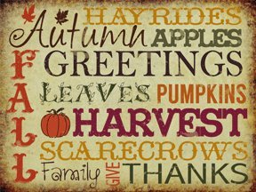 Autumn Greeting Metal Sign, Holiday, Thanksgiving quote home wall art decor