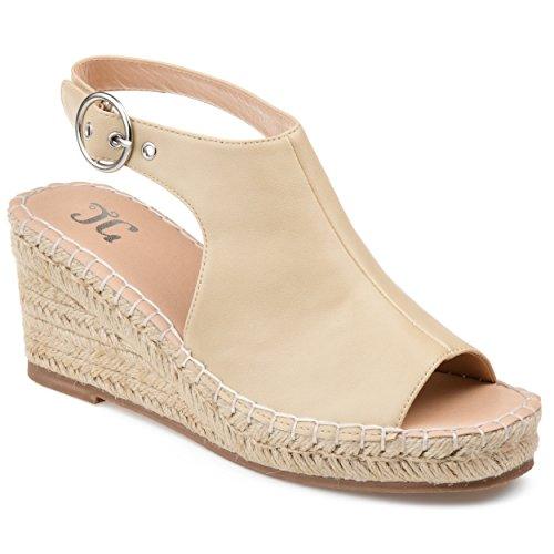 Journee Collection Crew Womens Wedge Sandals Nude, 7 Regular US