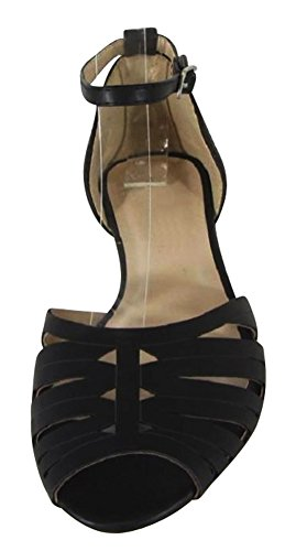 Cambridge Select Womens Peep Toe Caged Cutout Buckled Ankle Strap Flat Sandal Black Pu dpHNQ6u3L5