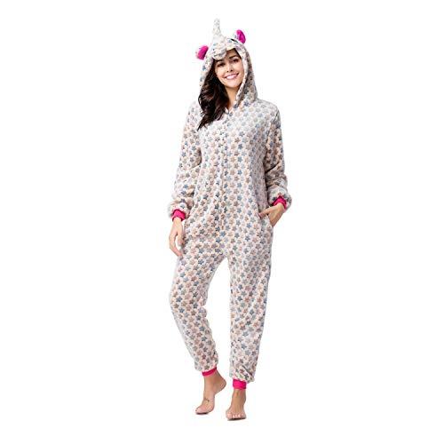 RONGTAI Adults Unisex Animal Flannel Unicorn Onesie Pajamas Cosplay Costume(M, Yellow Star -