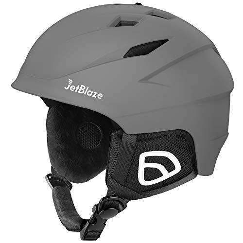 JetBlaze Ski Helmet, Snowboard Helmet, Snow Helmet for Men Women Youth (Gray, L)