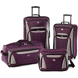 American Tourister Luggage Fieldbrook II 4 Piece Set, Purple/Grey, One Size