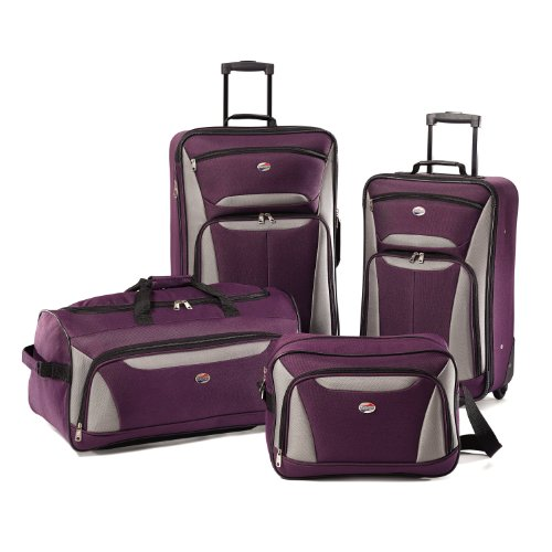 American Tourister Luggage Fieldbrook II 4 Piece Set, Purple/Grey, One Size (Piece Luggage 4 Set)