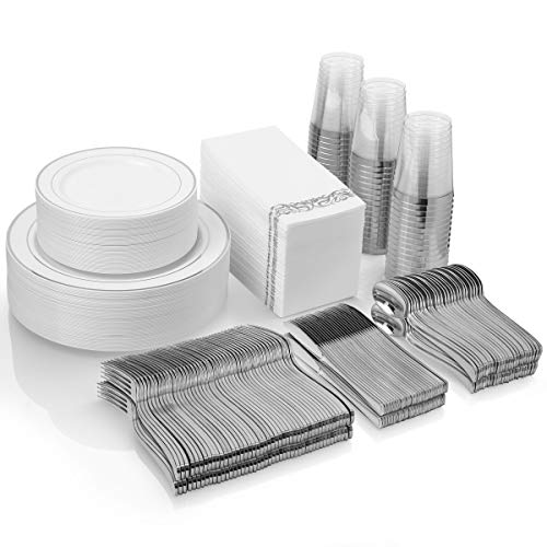 Silver Disposable Plates Set For 50 Guest – 450 Piece Silver Plastic Dinnerware Set – 100 Silver Rimmed Plastic Plates…