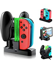 Opard Nintendo Switch Controller Ladestation mit 4 Slots für Joy-Con und 1 Typ-C USB Port für Switch Konsole/Pro Controller/Typ-C Geräte Ladestation mit LED-Anzeige