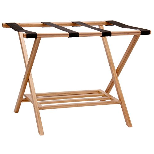 (Household Essentials 2127-1 Folding Luggage Rack with Lower Storage Shelf | Bamboo Frame with Black Straps)