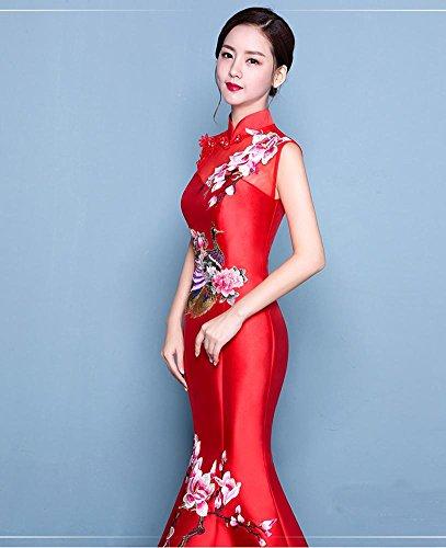 Kleid Beauty Rot Emily Satin Up Meerjungfrau Stickerei Lace Dicke Cheongsam 88Tzpwrq