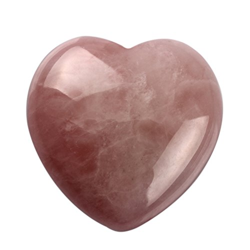 YWG Stone Natural 1.8 inches Rose Quartz Puff Heart Shape Pink Crystal Chakra Stone Carved Healing Worry Carving Stones Reiki Free Pouch (Rose Heart Candle Pink)