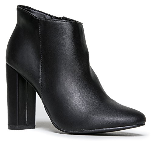 Bootie Zip 21 Ankle Linda Mod Cute Dress Up Classic Round Simple Sleek Vintage Boot Heel Breckelle's Black Ankle Boot Retro qv5C6Exnxw