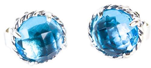 Silver Sterling Chatelaine (David Yurman Women's Sterling Silver Chatelaine Earrings 10mm Blue Topaz)